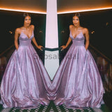 2020 A-line Spaghetti Straps Sparkly Purple Long Shining Gorgeous Prom Dresses PD1735