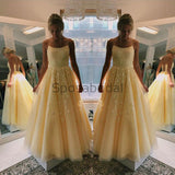 A-line Spaghetti Straps Yellow Lace  Formal Long Modest New Prom Dresses PD1742