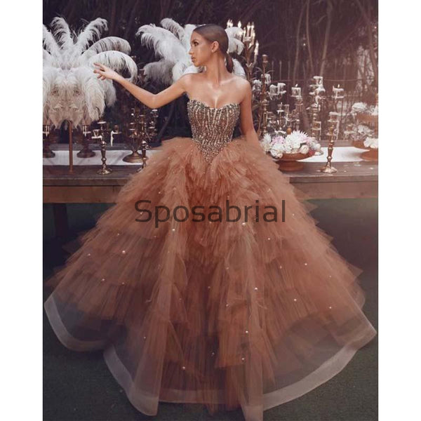 A-line Strapless Modest Hot Sale Elegant Prom Dresses, Part Queen Dress PD2025