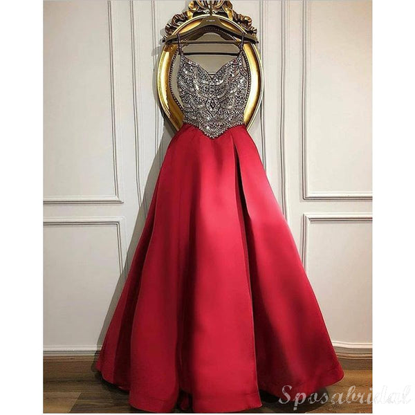 A-line Top Beading Red Sparkly Long Modest Elegant Prom Dresses, Chamring Prom Dress,PD1386