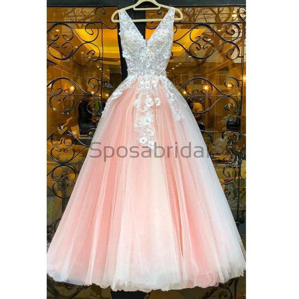 A-line Tulle Pink Custom Long V-Neck High Quality Fashion Prom Dresses, Party Gowns PD1693