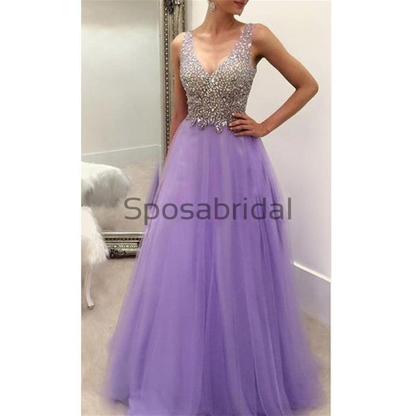 A-line Tulle V-Neck Strapless Fashion Sparkly Modest Prom Dresses, Long Prom Dresses PD1812