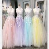 A-line Tulle with Lace Long V-Neck Colorful Modest Prom Dresses, PD0831 - SposaBridal