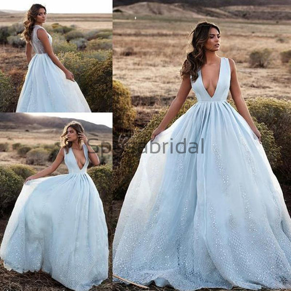 A-line V-Neck Blue LaceLong Real Made Formal Vintage Prom Dresses, Prom Dress PD1817
