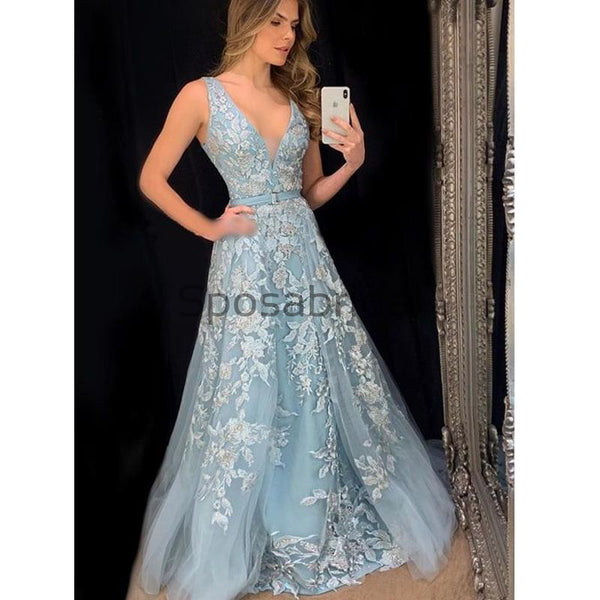 A-line V-Neck Blue Lace Pretty Modest Formal Long Elegant Prom Dresses, Prom Dress PD1815