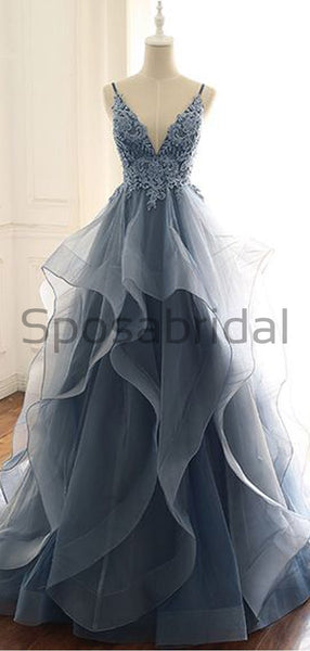 A-line V-Neck Lace Organza Long Real Made Formal Vintage Prom Dresses PD1754