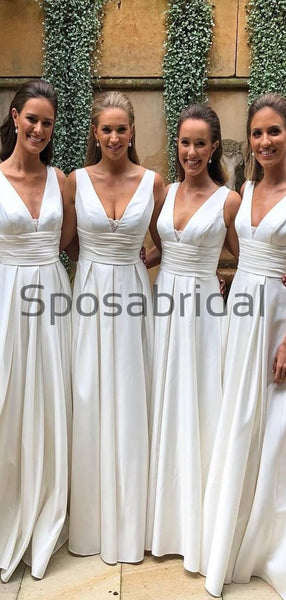 A-line V-Neck Sleeveless Elegant Floor-length Bridesmaid Dresses WG607