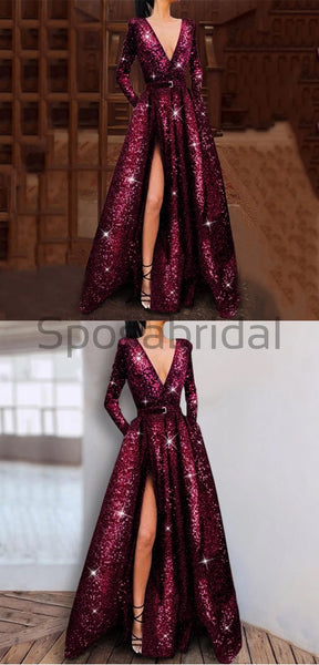 A-line V-neck Long Sleeves Shining Sparkly Sequin Modest Prom Dresses, Evening Dresses PD1547