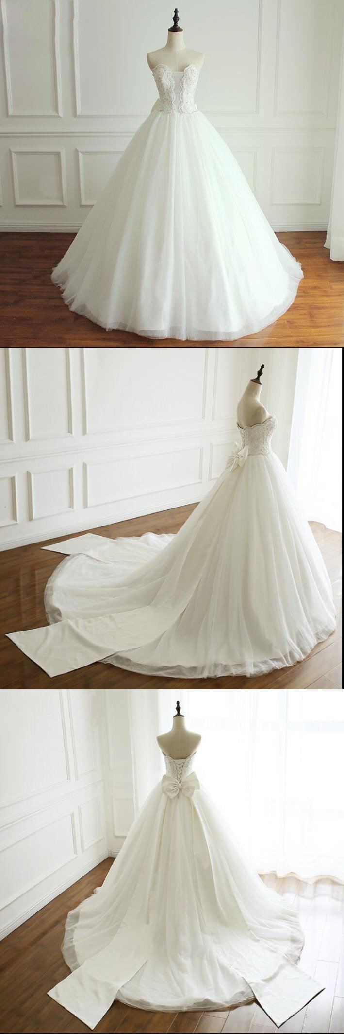 A-line White Ivory Elegant Weeding Dresses, Princess Summer Free Custom Bridal Gowns with Bow, WD0269