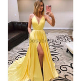 A-line Yellow Cheap Side Slit Spaghetti Straps Simple Long Prom Dresses PD1550