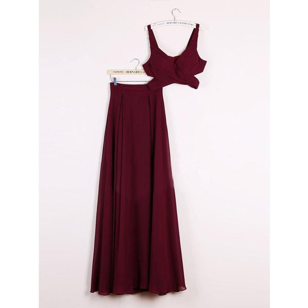 A Line 2 Pieces Plus Size Long Burgundy Chiffon Sleeveless Cheap Modest Bridesmaids Dresses, WG342 - SposaBridal