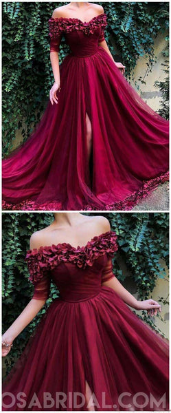 A Line Off The Shoulder Burgundy Tulle Prom Dresses With Appliques Split, Evening Dress, PD1128