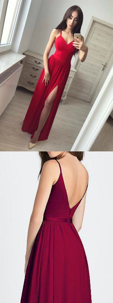 A Line Red Simple Modest Elegant Cheap Sexy Long Prom Dresses, PD0827 - SposaBridal