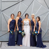 Affordable Country Halter Mermaid Long Bridesmaid Dresses WG802