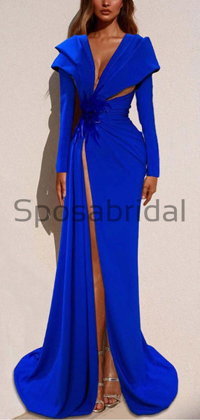 Affordable Blue Elegant Long Sleeves Side Slit Mermaid Formal Prom Dresses PD1971