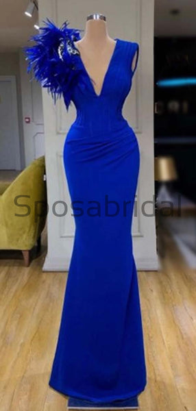 Affordable Blue Elegant Sleeveless Sequin Sparkly Formal Prom Dresses PD1980