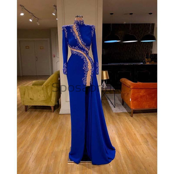 Affordable Blue Unique Mermaid Long Slevess Sexy Fomal Prom Dresses PD1982