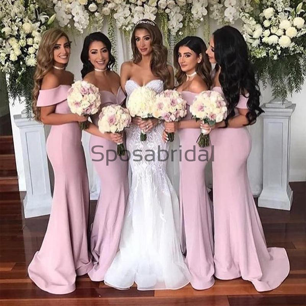 Affordable Mermaid Pink Off the Shoulder Simple Bridesmaid Dresses WG600