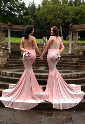 Backless Halter Mermaid with Small Train Bridesmaid Dress,wedding guest dress , WG220