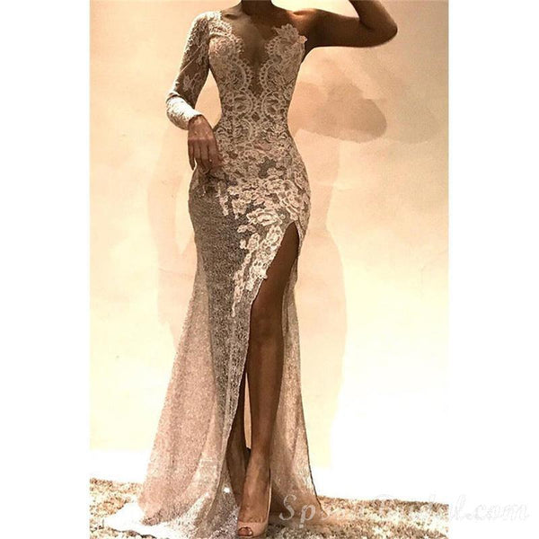 Appliques Lace Side Slit Modest Elegant Sheath  One-shoulder  Long Prom Dresses, PD1337