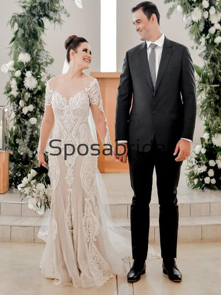 Attractive Long Seeves Mermaid Lace Chic Illusion Beach Long Wedding Dresses WD0544