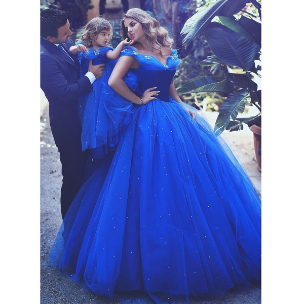 Attractive Tulle Off-the-shoulder Neckline Ball Gown Formal Elegant a-line Prom Dresses,PD1351