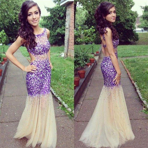 Long Fashion Sparkle Backless Popular  Mermaid Evening Prom Dresses Online,PD0101