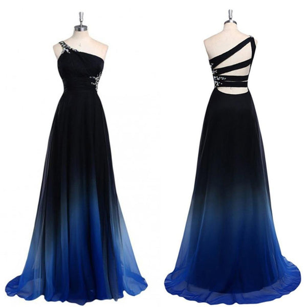 Chiffon Cheap One Off shoulder  Gradient Popular Custom Unique Pretty Prom Dresses Online,PD0122