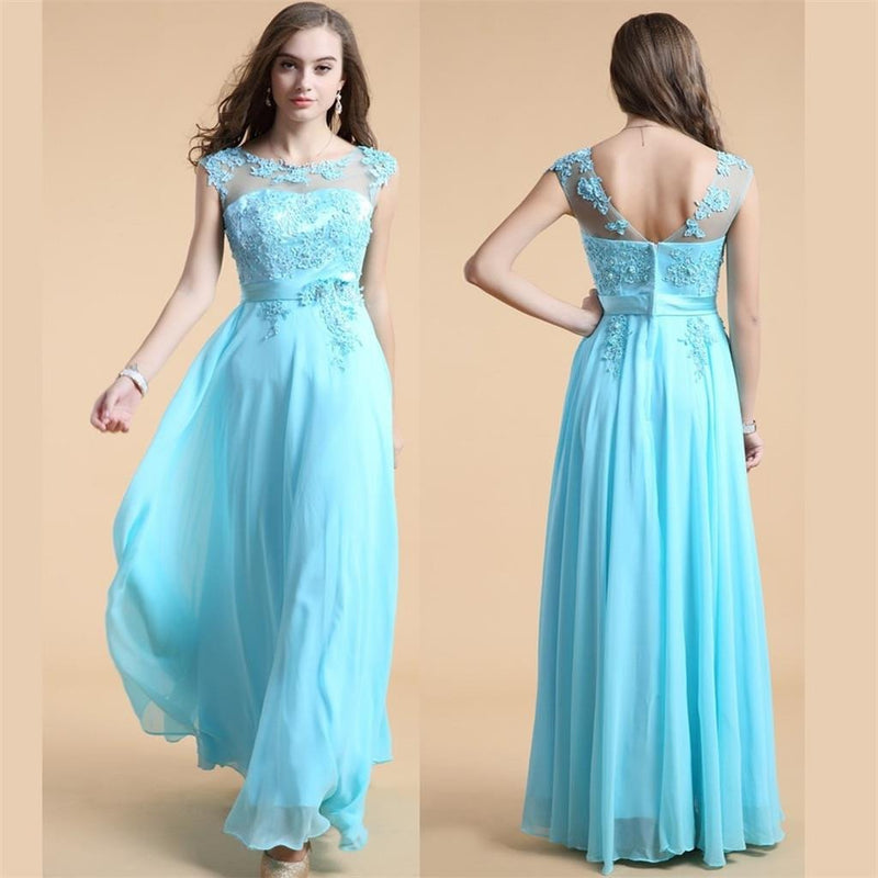 Blue A-line Pretty Cheap Party Evening Long Prom Dresses Online,PD0126