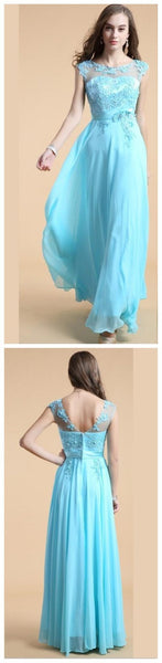 Blue A-line Pretty Cheap Party Evening Long Prom Dresses Online,PD0126 - SposaBridal