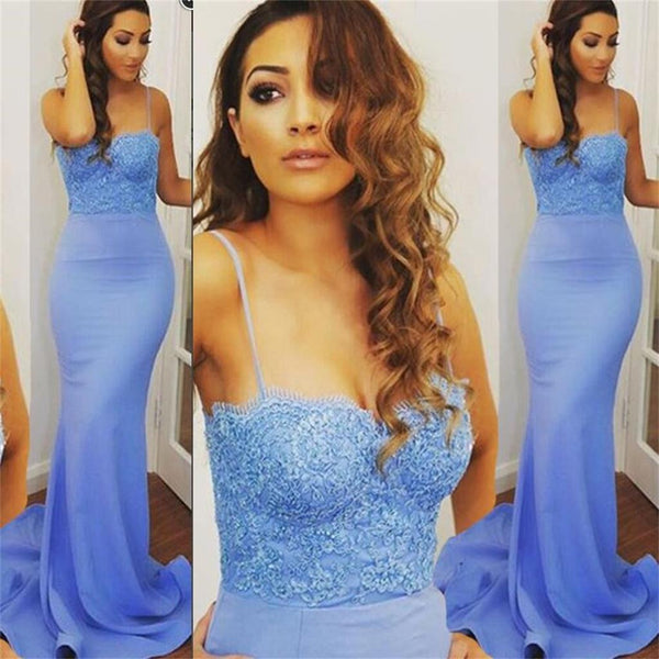 Spaghetti Straps Mermaid Blue Sexy Cocktail Evening Long Prom Dresses Online,PD0151
