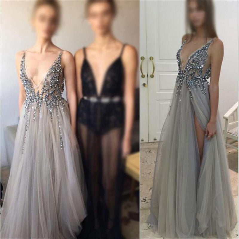2018 Charming  Deep V-Neck Tulle New Arrival Party Cocktail Evening Long Prom Dresses Online,PD0185