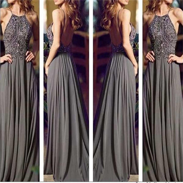 Long Gray Chiffon Backless Sleeveless Popular Cheap Evening Prom Dresses,PD0032