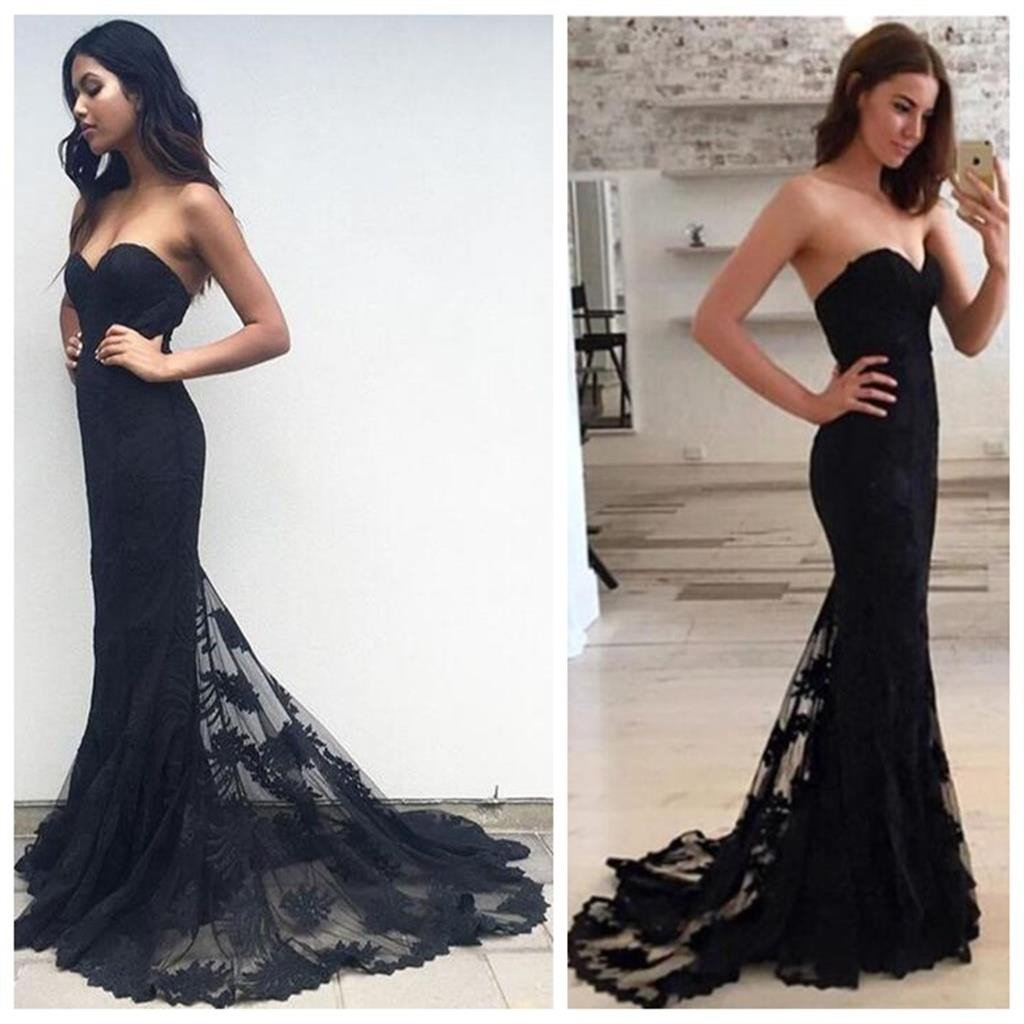 Black Mermaid Sexy Strapless Sweetheart Popular Party Evening Long Prom Dress,PD0041