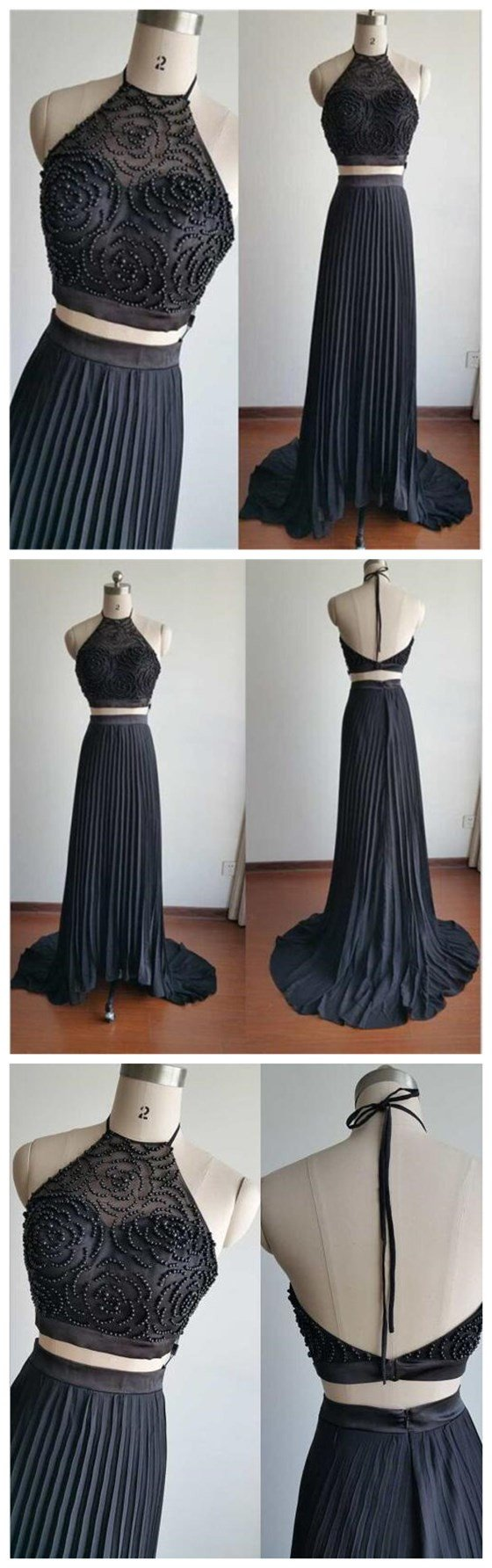 Two Pieces High neck Beading Newest Custom Evening Long  Party Prom Dress,PD0061