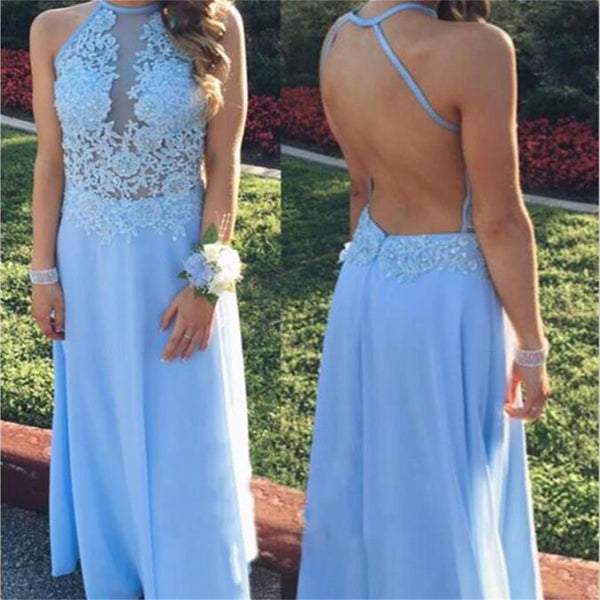 Long Chiffon Long Blue Simple Popular Cheap Prom Dresses,PD0070