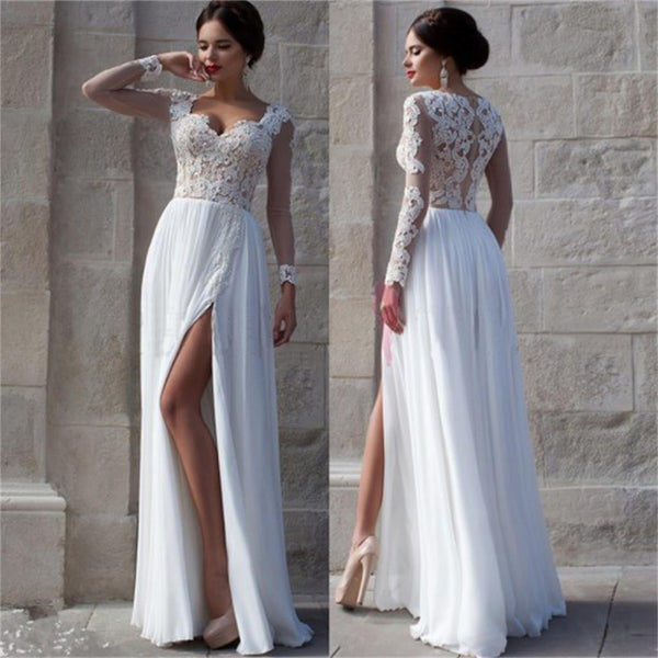 6eff2104e890 White Side Slit Elegant Custom Cheap Wedding Party Prom Dresses Online