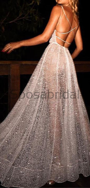 Backless Deep V-Neck Sexy Sequin Sparkly Shining Fashion  Prom Dresses,Evening Dresses PD1558