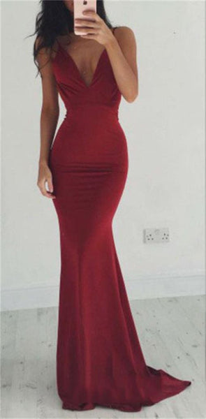 Backless Spaghetti Straps Sexy Burgundy V-neck Cocktail Evening Long Prom Dresses Online,PD0161