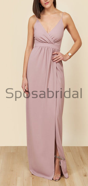 Beach Pink Mismatched Simple Popular Long Bridesmaid Dresses WG792