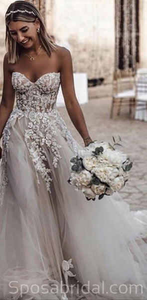 Beach A Line Tulle Applique Floor Length Wedding Dresses, Sweetheart Strapless Sleeveless Zipper Wedding Gowns, WD0351