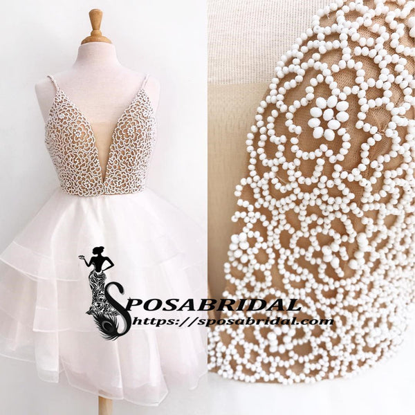 Beaded Short Elegant Pretty Gorgeous Formal Popular Homecoming Dresses, BD0223 - SposaBridal