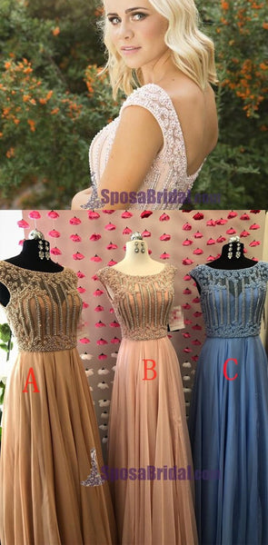 Beaded Small Cap Sleeves Chiffon A-Line High Quality Real  Modest Prom Dresses, PD0630