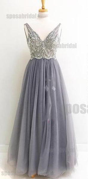 Beaded Sparkly V Neck Long Sleeveless Gorgeous Popular Prom Dresses, Evening dresses, PD0590