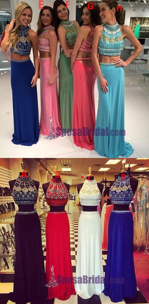 Beading Two Pieces Halter High Neck Gorgeous Prom Dresses, Sparkly Shining Prom Dresses, PD0624