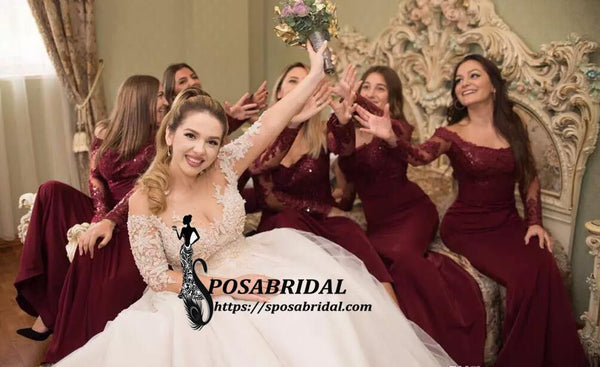 Best Cheap Modest Sexy Unique Mermaid Burgundy Off Shoulder Long Sleeves  Hot Sale Elegant Discount Bridesmaid Dresses, WG263 - SposaBridal