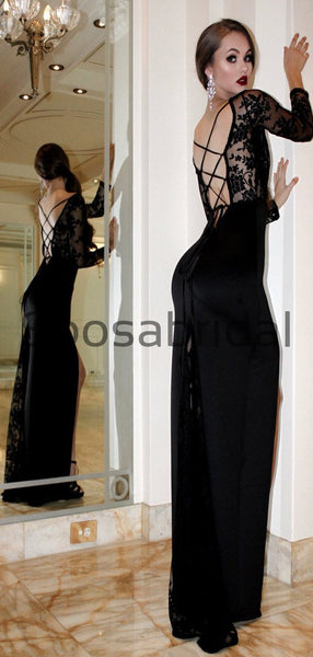 Black Long Sleeves Lace Mermaid Side Slit Lace up back Prom Dresses PD2167