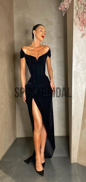 Black Cheap Mermaid Side Slit Fashion Prom Dresses PD2277