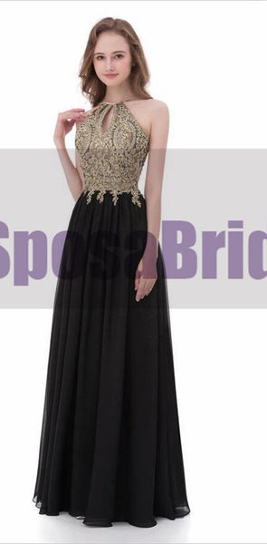 Black Chiffon Gold Halt A-line Gorgeous Prom Dresses, Elegant Formal Prom Dress, PD0480