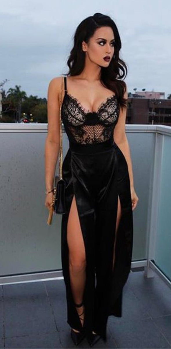 black lace popular new prom dress sexy fashion slit prom